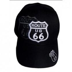 Gorra negra route 66 borde...