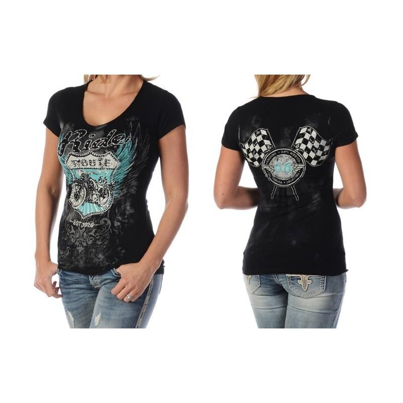 Wear Ruta Manga Corta 66 Americana Mujer Tallas Ropa L Moto Camiseta Liberty ulJc35TKF1
