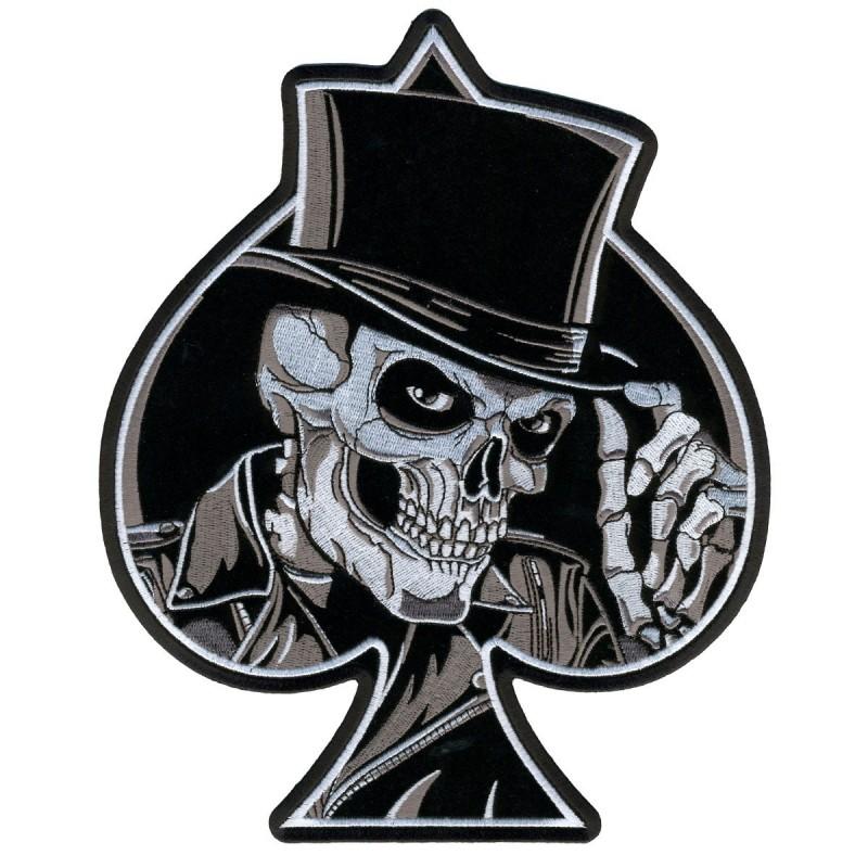 Parche espaldera as de picas calavera con sombrero de copa blanco y negro 76a4f1b72ae