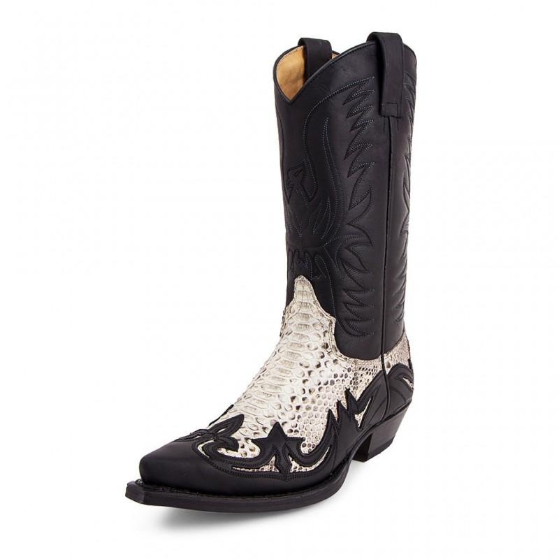 ca9f36c1ea Botas SENDRA 3241 Cuervo Sprinter Negro Pitón Barriga Natural color negro y  pitón estilo cowboy unisex Tallas Zapatos 36