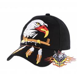 gorra negra cabeza de águila