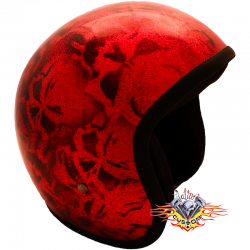 Casco Jet Skull Red Evo