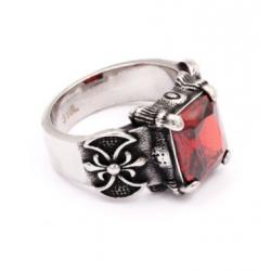 anillo de acero 316L flor...