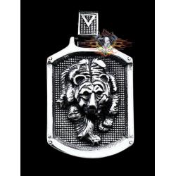 colgante león  acero