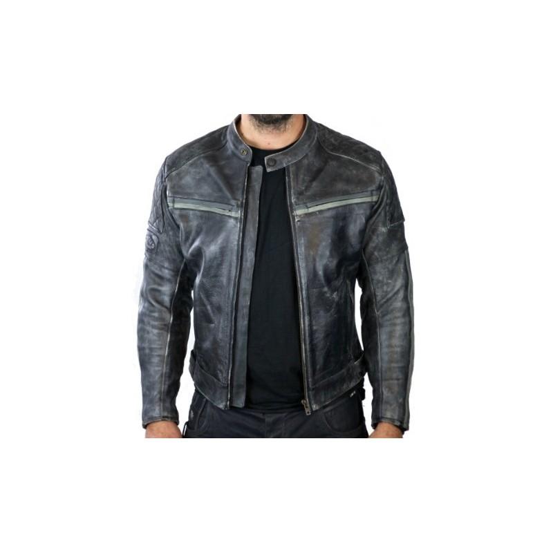 chaqueta de cuero de hombre moto
